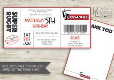 Crusaders Birthday Invitation   Rugby Birthday Party   Canterbury Crusaders   Super Rugby Party   Rugby Ticket Invitation   NZ Rugby (165) by kellylouisedesigns on Etsy