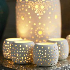Ceramic Bazaar Tea Light Holders, Christmas Decorations