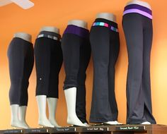 lululemon display of leggings on mannequin legs like the ones we have at mannequinmadness