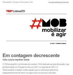 Se quer estar sempre a par das últimas novidades do TEDxLisboaED, subscreva a nossa newsletter através do seguinte link: http://tedxlisboa.com/newsletter/.  Temos ainda muitas surpresas reservadas para si - seja o primeiro a saber quais!  #tedxlisboa #tedxslisboaed #mob