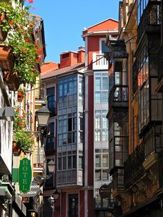 Winding street in Leon, Spain