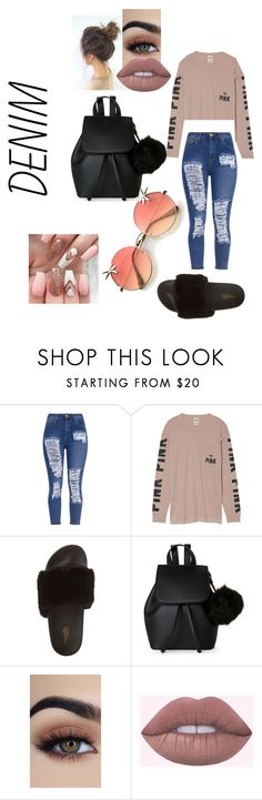 """""""denim look really lazy #pls #like I work hard but dont get no likes"""" by kaleahconklin ❤ liked on Polyvore featuring Victoria's Secret, Charlotte Russe and IMoshion"""