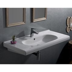 """City 39.37"""" Rectangle Ceramic Wall Mounted Sink or Self Rimming Sink   AllModern"""