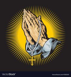 Praying hands with rosary and shihning. Praying hands with rosary vector , Praying Hands Emoji, Praying Hands Images, Praying Hands Drawing, Praying Hands With Rosary, Praying Hands Tattoo, Pray Tattoo, Lion Tattoo, Cross Pictures, Jesus Pictures
