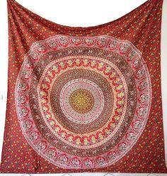Handmade Fabric Cotton Elephant Mandala Bedspread Tapestry Boho Hippie Wall Hanging Throw Ethnic Bohemian Home Decor