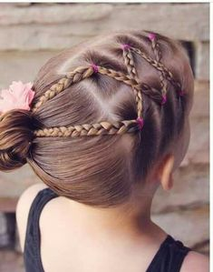 Criss-crossed braids off to the side, pulled back into a bun. Little Girl Hairdos, Girls Hairdos, Lil Girl Hairstyles, Princess Hairstyles, Braided Hairstyles, Crazy Hair Days, Toddler Hair, Hair Dos, Curly Hair Styles