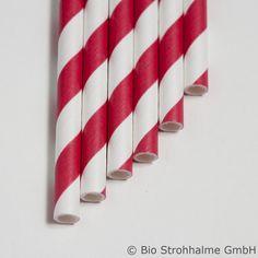 Papiertrinkhalm Streifen rot