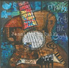 Mixed Media Art Print on Wood, 10x10, Music Feeds the Soul/Guitar by Jennifer McCully