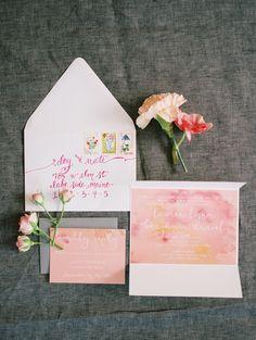watercolor wedding invitation.