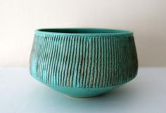 Groove - Verdigris Stoneware Bowl with Carved Grooves http://www.etsy.com/listing/65775743/groove-verdigris-stoneware-bowl-with
