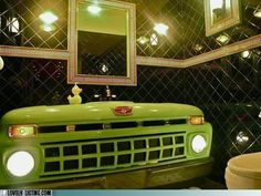 Truck Stop Bathroom for the man-cave...