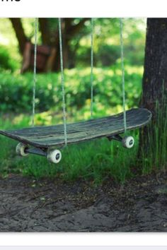 Old skate board swing.  Pretty sure we have a broken skate board laying around somewhere...