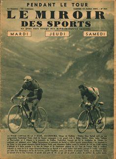 Tour de France 1937. 7^Tappa, 7 luglio. Aix-les-Bains > Grenoble. Col du Galibier. Gino Bartali (1914-2000) e Mario Vicini (1913-1995) [Le Miroir des Sports]