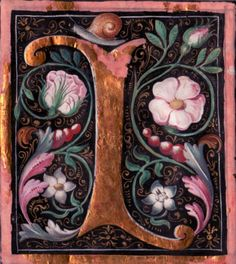"""A capital """"L"""" cut from a century northern European illuminated manuscript is painted in gold and surrounded by pink flowers, green leaves, red berries, and a snail. Illuminated Letters, Illuminated Manuscript, Beautiful Calligraphy, Christian Devotions, Medieval Manuscript, Calligraphy Letters, Letter Art, Red Berries, Illustrations"""