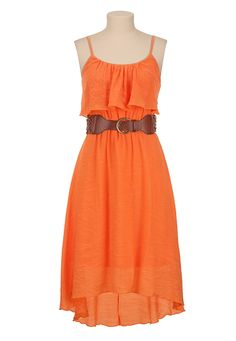 Belted Ruffle Front High-Low Hem Tank Dress available at #Maurices~~~Would be super cute with a jacket!
