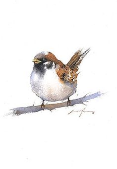 Sparrow bird watercolor art by Nitin Singh Watercolor Art Paintings, Watercolor Bird, Watercolor Landscape, Watercolor Portraits, Abstract Paintings, Sparrow Art, Bird Drawings, Drawing Birds, Bird Pictures
