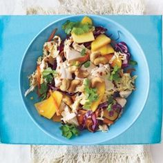 Yum! We love this Asian inspired chopped chicken cashew salad with fresh flavors like lime, orange, mango, cabbage, and carrots.