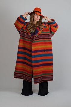 A gloriously colorful blanket coat.