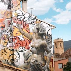 Utsirart Murals PichiAvo Art Design Graffiti Art - Guy paints over graffiti and rewrites them in a more legible way