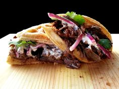 waffle sandwich with slow roasted balsamic beef, creamed horseradish and pickled onions - Imgur