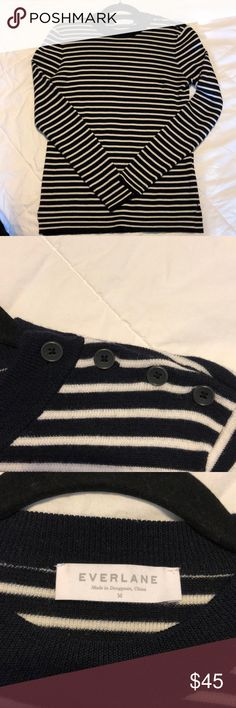 "Everlane merino wool high crew striped sweater From Everlane - ""Inspired by a sailor's sweater, this Breton-striped crewneck is made from tightly-woven extra fine merino and comes finished with a split hem and discrete shoulder buttons. Fend off the sea spray—or just cold winds."" Navy and white stripes. Great condition, only worn a few times! Everlane Sweaters Crew & Scoop Necks"