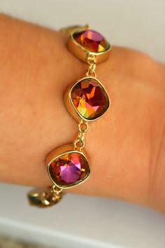 Fancy Gems Statement Bracelet by DesignsbyStacyLee on Etsy - Swarovski fuchsia gold crystals bezel bracelet