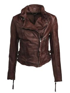 Muubaa Flax Leather Biker Jacket in Burnet - Muubaa from Muubaa UK