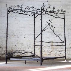 Forest Canopy Bed Falling asleep has never felt so tranquil. We went directly to our iron workers to have these hand crafted iron Forest Canopy Bed is made specifically for us. Every texture and twist, every leaf or li Fantasy Bedroom, Canopy Bed, Canopy, Forest Canopy, Murphy Bed Plans, Girls Canopy, Home Decor, Girl Bedroom Decor, Apartment Decor