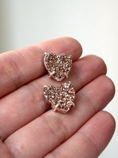 RESERVED for Karine - Time to Shine - druzy bronze stone hearts post sterling silver earrings. $70.00, via Etsy.