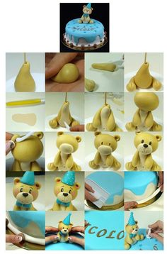 50 ideas for cupcakes fondant toppers teddy bears Fondant Cupcakes, Fondant Toppers, Cake Decorating Techniques, Cake Decorating Tutorials, Cookie Decorating, Fondant Figures Tutorial, Cake Topper Tutorial, Decors Pate A Sucre, Teddy Bear Cakes