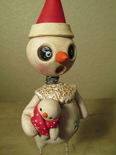 Christmas Nodder style Snowman with baby snowman doll folk art by Janell Berryman Pumpkinseeds by JanellBerryman on Etsy