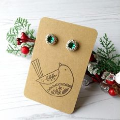 Christmas Earrings, Christmas Is Coming, Handmade Crafts, Home Crafts, Seed Beads, Unique Gifts, Craft House, Stud Earrings, Gemstones