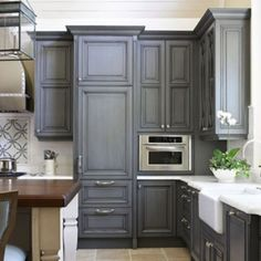 Gray kitchen cabinets love this! Then you can make it pop with any color for the season. For the dream home!