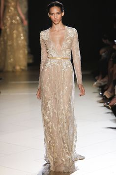 Cora Emmanuel on the runway for Elie Saab Haute Couture, Fall 2012