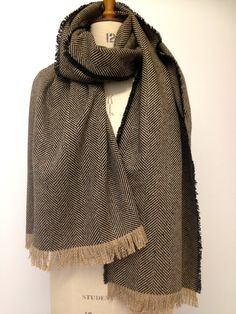 0d6bc425 Blanket Scarf - Brown Oversized Scarf - Brown Wool Herringbone Shawl  Blanket - Brown Winter Oversized Scarves -Gift for him -Made in England