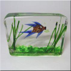 Cenedese Riccardo Licata Murano Glass Fish Aquarium Block Paperweight | eBay