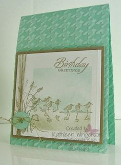 Stampin' Up! ... handmade card from KathleenStamps: Wetlands ... mint green background with sanded herringbone embossed texture ... soft and pretty sea scene with birds on a sponged sand, water and sky ...