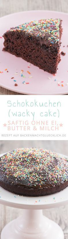 """Dieser als """"wacky cake"""" bekannte Kuchen aus den USA schmeckt genial und superschokoladig - und das, obwohl er ohne viele typische Zutaten auskommt. Genau richtig für Veganer, Menschen mit Kuhmilch- oder Ei-Allergie sowie alle, die saftige Schokokuchen lieben!"""