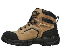 Skechers Work Men's Hartan Onkin Steel Toe Waterproof Work Boots (Light Brown)