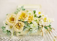 yellow-cottage-wedding-centerpiece - Once Wed Yellow Flower Arrangements, Artificial Floral Arrangements, Floral Centerpieces, Wedding Centerpieces, White Centerpiece, Centrepieces, Wedding Decorations, Fall Wedding Colors, Floral Wedding