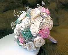Handmade Wedding Bouquet Medium-Handmade Flower, Bridal Bouquet, Keepsake Bouquet, Shabby Chic Wedding, Rustic Wedding. $75.00, via Etsy.