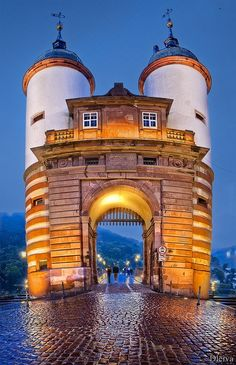 Charley and I spent a memorable day in Heidelberg. This is the Towers on the Old Foot Bridge over the the Neckar River in Heidelberg, Germany. Places Around The World, Oh The Places You'll Go, Travel Around The World, Places To Travel, Around The Worlds, Voyage Europe, Belle Villa, Germany Travel, Travel Europe