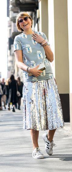 Milan Fashion Week street style: Silver skirt and Adidas