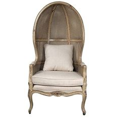 "The Continental Balloon Chair-PM is a 30"""" wide 28"""" deep x 58.5"""" tall classic . The Chair features a very unique open dome design with curved styling and intricate yet delicate carved frames. The ch"