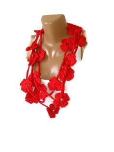 Red Flower Hand Crochet Lariat Scarf  gift by SNOflowers on Etsy, $25.00