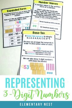 Learn more about teaching your students how to represent numbers using number names, base ten, and expanded form with these activities and strategies. Place Value Activities, Number Activities, Teaching Second Grade, Second Grade Math, Teaching Tips, Teaching Math, Teaching Place Values, Expanded Form, Common Core Math Standards