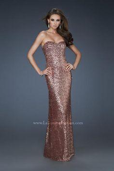 Deep-V Sequined High Front Slit La Femme 18350 Gold Homecoming ...