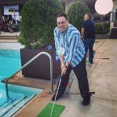 Hitting golf balls into the pool at the #ACORDLOMA closing party hosted by Xuber at the Wet Republic Ultra Pool in the MGM Grand, Vegas.