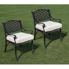 @Overstock - These solid cast aluminum dining chairs are an irresistible addition to any patio. The rich, black textured finish is chic and stylish and the sound construction will last for years to come.http://www.overstock.com/Home-Garden/Black-Cast-Aluminum-Cushioned-Dining-Chairs-Set-of-2/6542563/product.html?CID=214117 $249.59