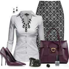 Work outfit-but i'd rather wear it with black pants. I think the pattern on the skirt is too much for me